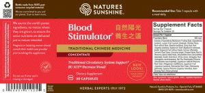 Nature's Sunshine Blood Stimulator TCM Label