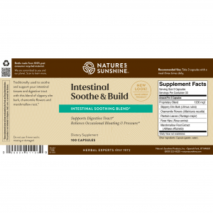 Natures Sunshine Intestinal Soothe & Build Label