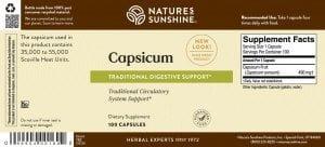 Nature's Sunshine Capsicum Label