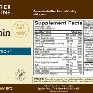 Nature's Sunshine Time Release MultiVitamin & Mineral Label