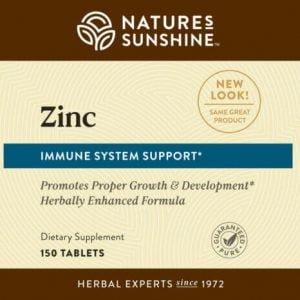Nature's Sunshine Zinc Label