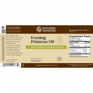 Nature's Sunshine Evening Primrose Oil Label