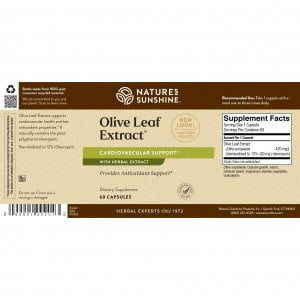 Natures Sunshine Olive Leaf Extract Label