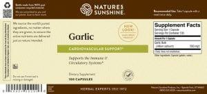 Nature's Sunshine garlic label