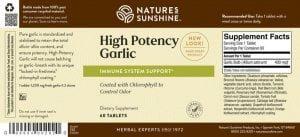 Nature's Sunshine High Potency Garlic Label