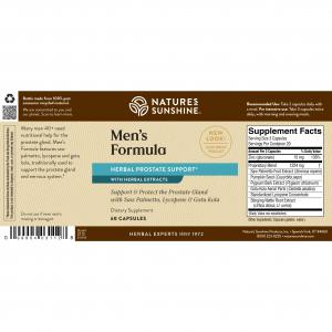 Natures Sunshine Men's Formula Label