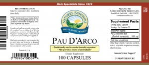 Nature's Sunshine Pau D'Arco Label