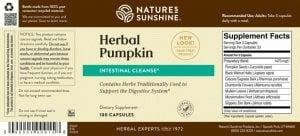 Nature's Sunshine Herbal Pumpkin Label