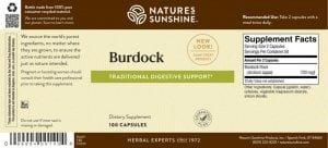 Nature's Sunshine Burdock Label