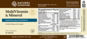 Nature's Sunshine MultiVitamin & Mineral Label