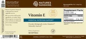 Nature's Sunshine Vitamin E Label