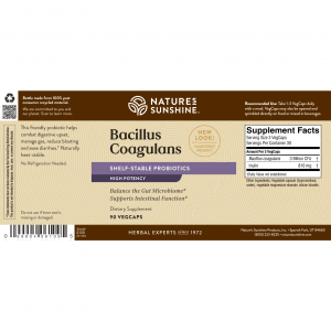 Nature's Sunshine Bacillus Coagulans Label