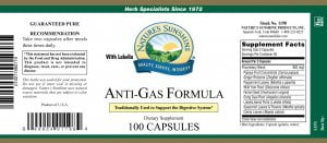Nature's Sunshine Anti-gas formula label