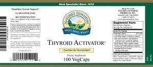 Nature's Sunshine thyroid activator label