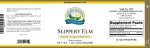 Nature's Sunshine slippery elm label