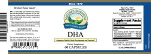 Nature's Sunshine DHA label