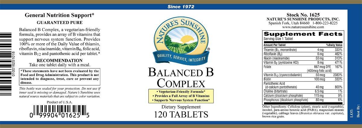 Balanced B Complex Vitamin B By Nature S Sunshine