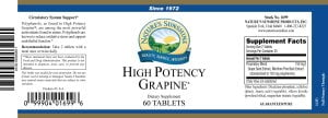 Nature's Sunshine high potency grapine label