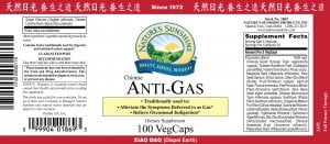 Nature's Sunshine anti-gas label