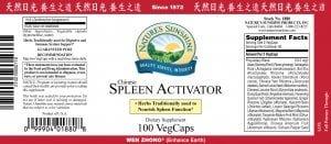 Nature's Sunshine spleen activator label