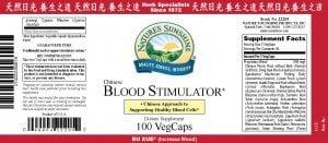 Nature's Sunshine Blood Stimulator Label