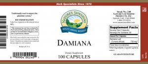 Nature's Sunshine Damiana Label
