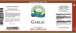 Nature's Sunshine Garlic Label