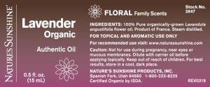 Nature's Sunshine Essential Oil Label lavender