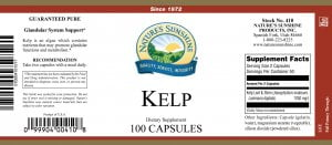 Natures Sunshine Kelp label