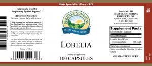 Natures Sunshine Lobelia label