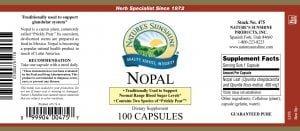Natures Sunshine Nopal label