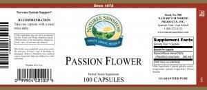 Natures Sunshine Passion Flower label