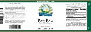 Natures Sunshine Paw Paw label