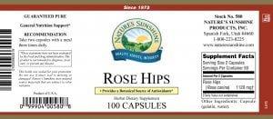 Natures Sunshine Rose Hips label