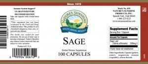 Natures Sunshine Sage label