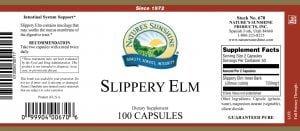 Natures Sunshine Slippery Elm label