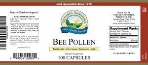 Nature's Sunshine Bee Pollen Label