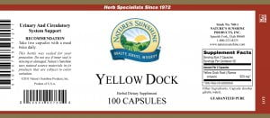 Natures Sunshine Yellow Dock label