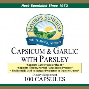 Nature's Sunshine Capsicum and Garlic with Parsley Label
