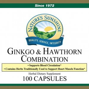 Nature's Sunshine GInkgo and Hawthorn Combination Label