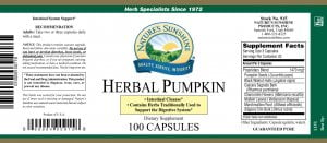 Nature's Sunshine Herbal Pumpkin Label